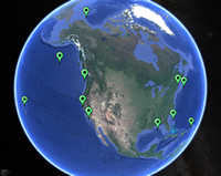 Small global map of hydrophone network
