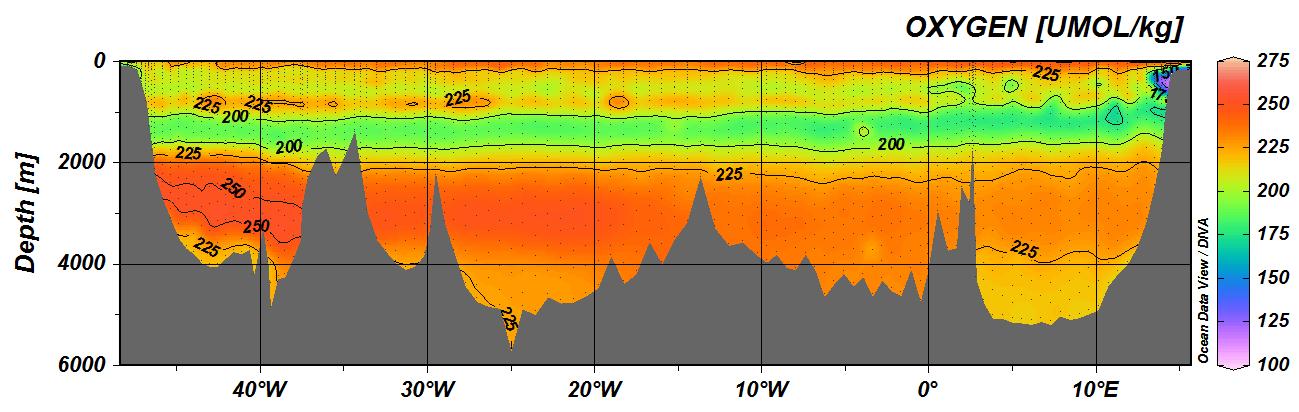 Oxygen along CLIVAR A10 section along 30oS in 2010.