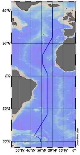 Map showing CLIVAR A16 section line