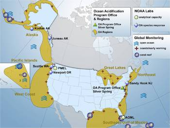 NOAA OA Research and Monitoring Map