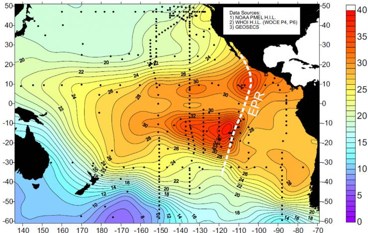 Map of d3He (%) for the Pacific Ocean basin contoured on a surface at 2500 m depth.