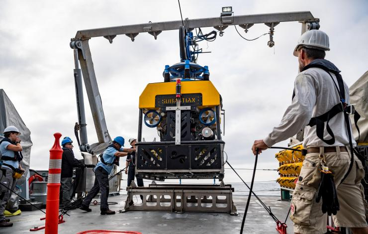 Image of ROV Subastian being recovered from the ocean