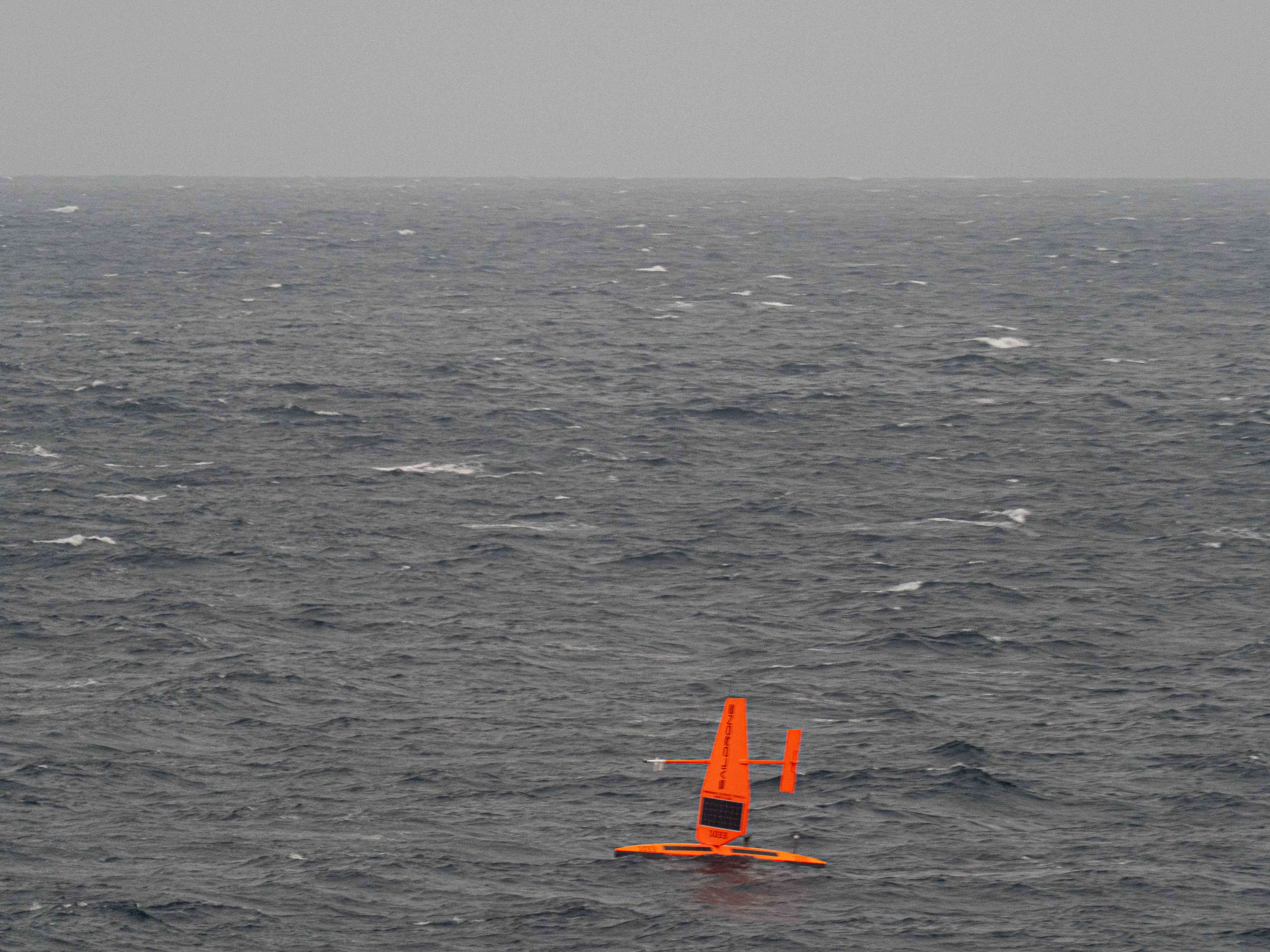 A saildrone observed at sea in the Arctic during the 2019 NOAA Arctic missions