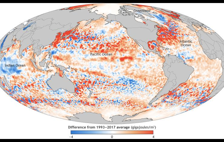 Global ocean heat content map in 2017 and change over time