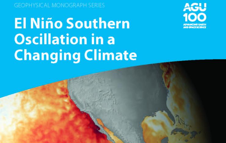 """Book cover of """"El Nino Southern Oscillation in a Changing Climate"""" with an image of the Pacific Ocean and the US with a red band along the equator and along the US Southwest Coastline representing warmer than normal temperatures"""