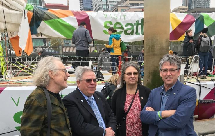 PMEL and UW researchers with Port of Seattle Commissioner Fred Felleman in front of the Visit Seattle racing yacht..jpeg