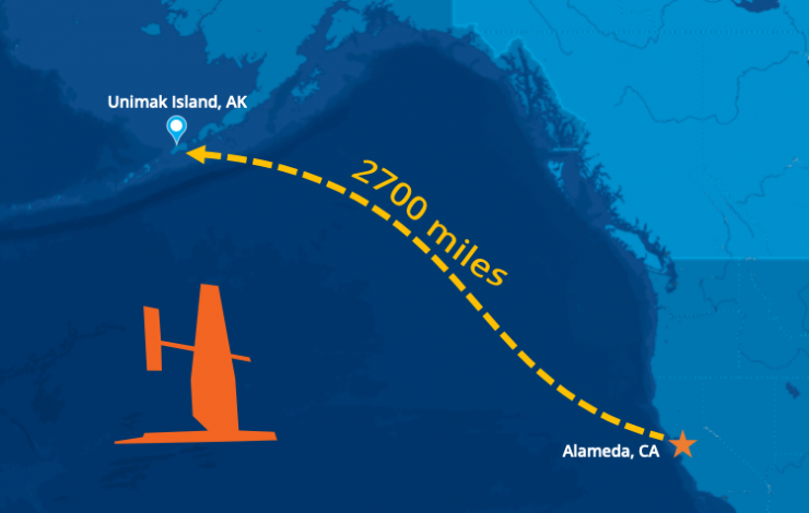 Map showing the 2700 miles travelled by saildrones from Alameda, California to Unimak Pass in Alaska