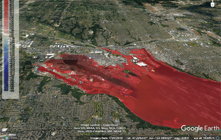 Two model simulations for a test tsunami scenarios for Bellingham and Tacoma, WA. The forecast models is from a M9.0 scenarios of Cascadia Event 3 hours after event showing wave amplitude in red.