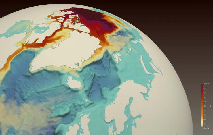 Map of the North Atlantic Ocean and Arctic of a simluation showing high salinity in red in the Arctic through the Canadian Arctic Archipelago