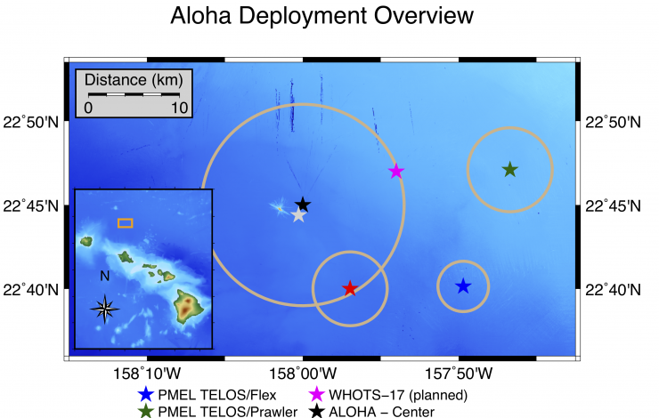 Map of TELOS deployment in reference to Hawaii and ALOHA stations