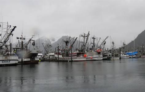 photo of fishing ships in Alaska
