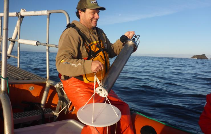 Joe Haxel ready to deploy the drifting hydrophone