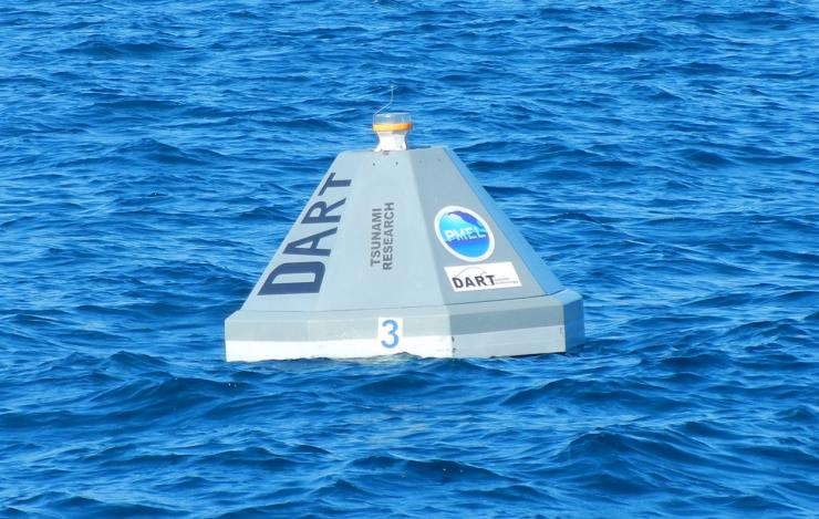 photo of a DART 4G buoy deployed in the ocean