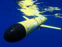 photo of a Slocum Glider underwater