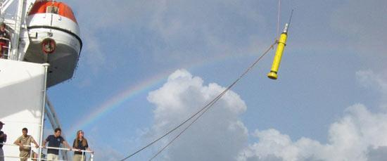 Float deployment from the T/S Golden Bear with a rainbow in the background (photo by John Polling)