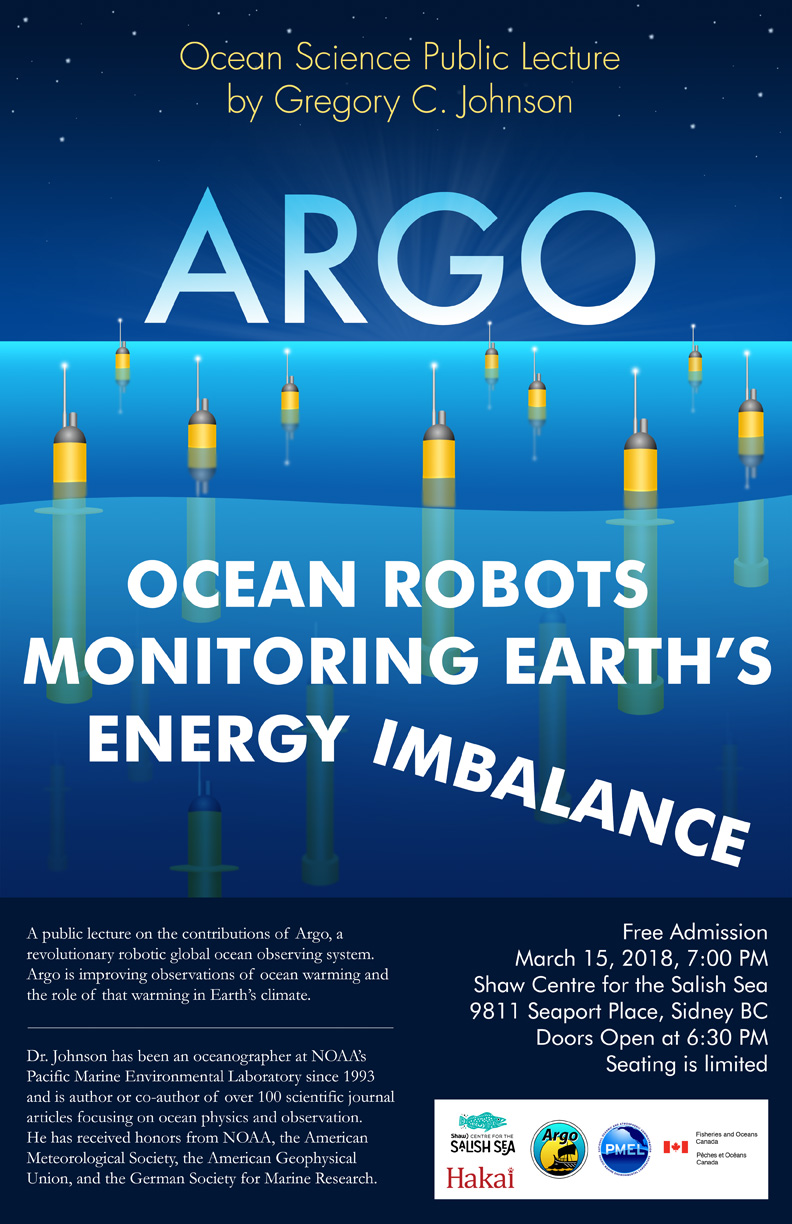 Flyer for upcoming public lecture on Argo: Ocean Robots Monitoring Earth's Energy Imbalance